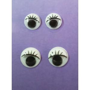 Ojos para muñecos con pestañas (pegar)