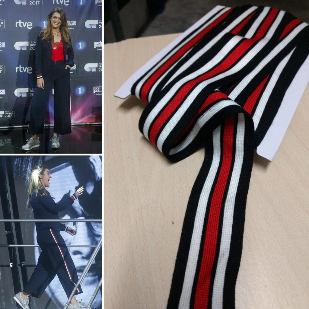 En la imagen aparecen dos imágenes de Amaia Romero con unos pantalones deportivos negros con unas cintas en los costados rojas y blancas. Además aparece una cinta igual que la que llevan sus pantalones.